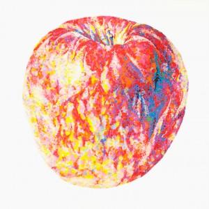丸シールで描いた林檎